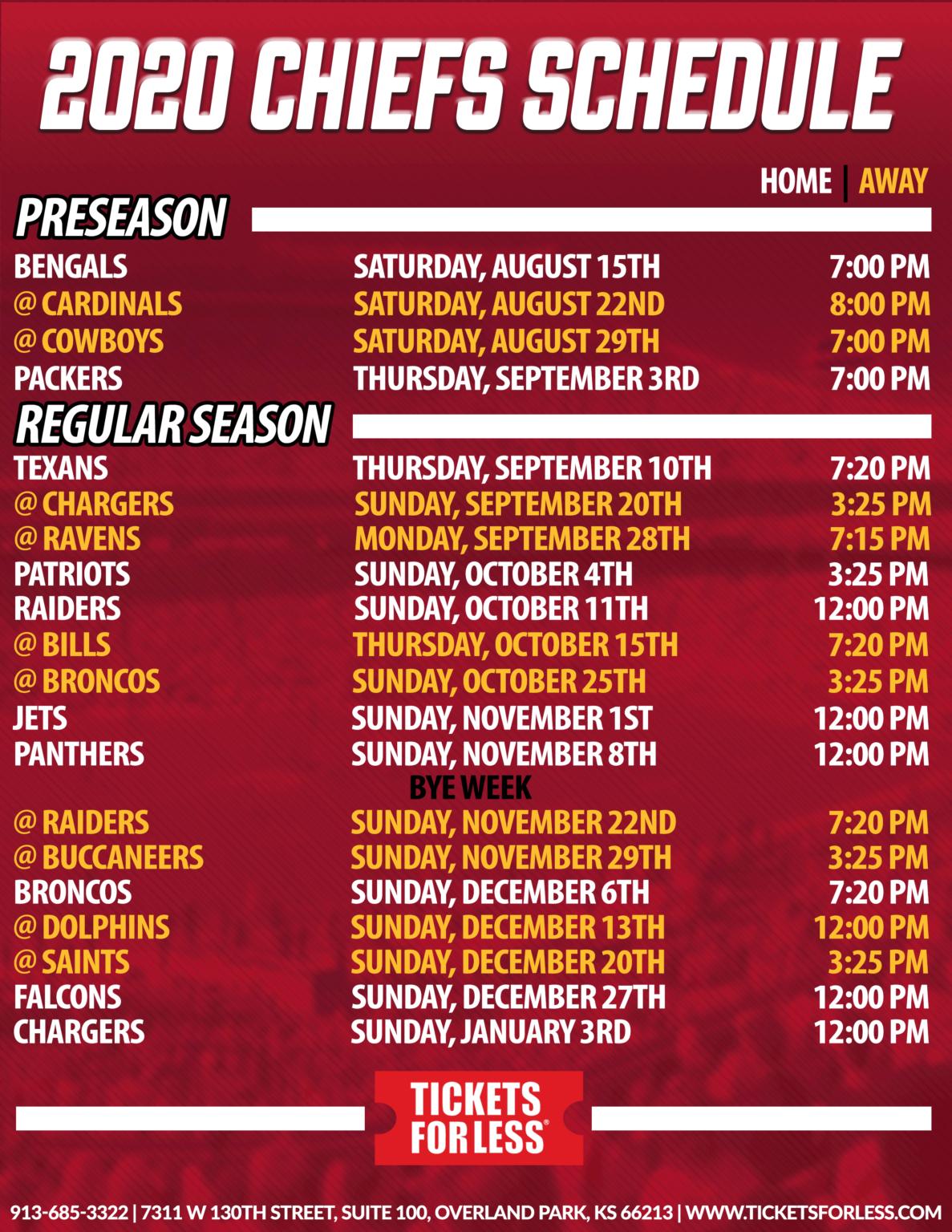 Chiefs Printable Schedule - Kansas City Chiefs Schedule