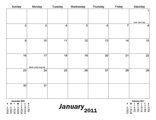 Classic Monthly Printable Calendar - Calendarsquick