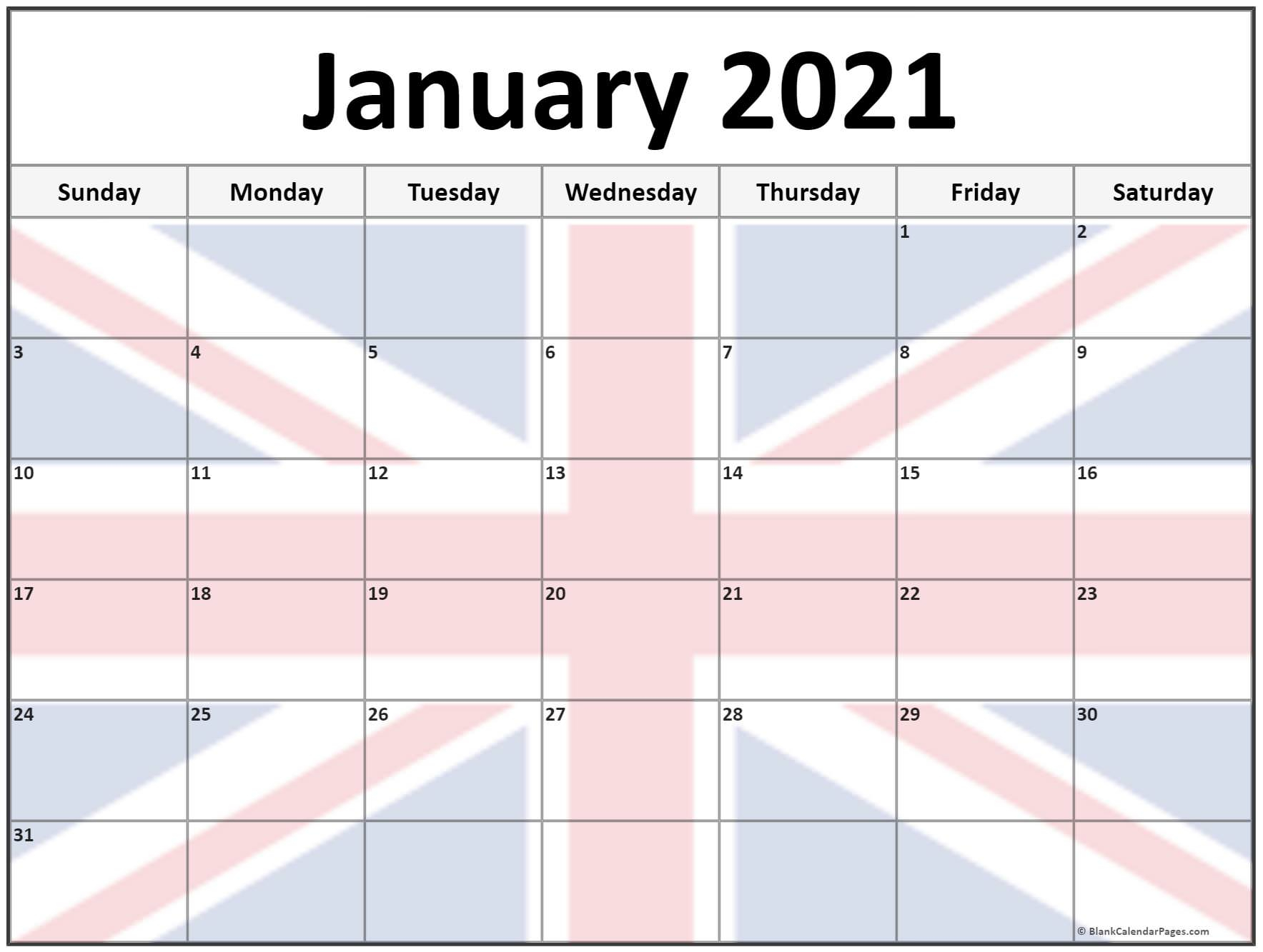 Collection Of January 2021 Photo Calendars With Image Filters.