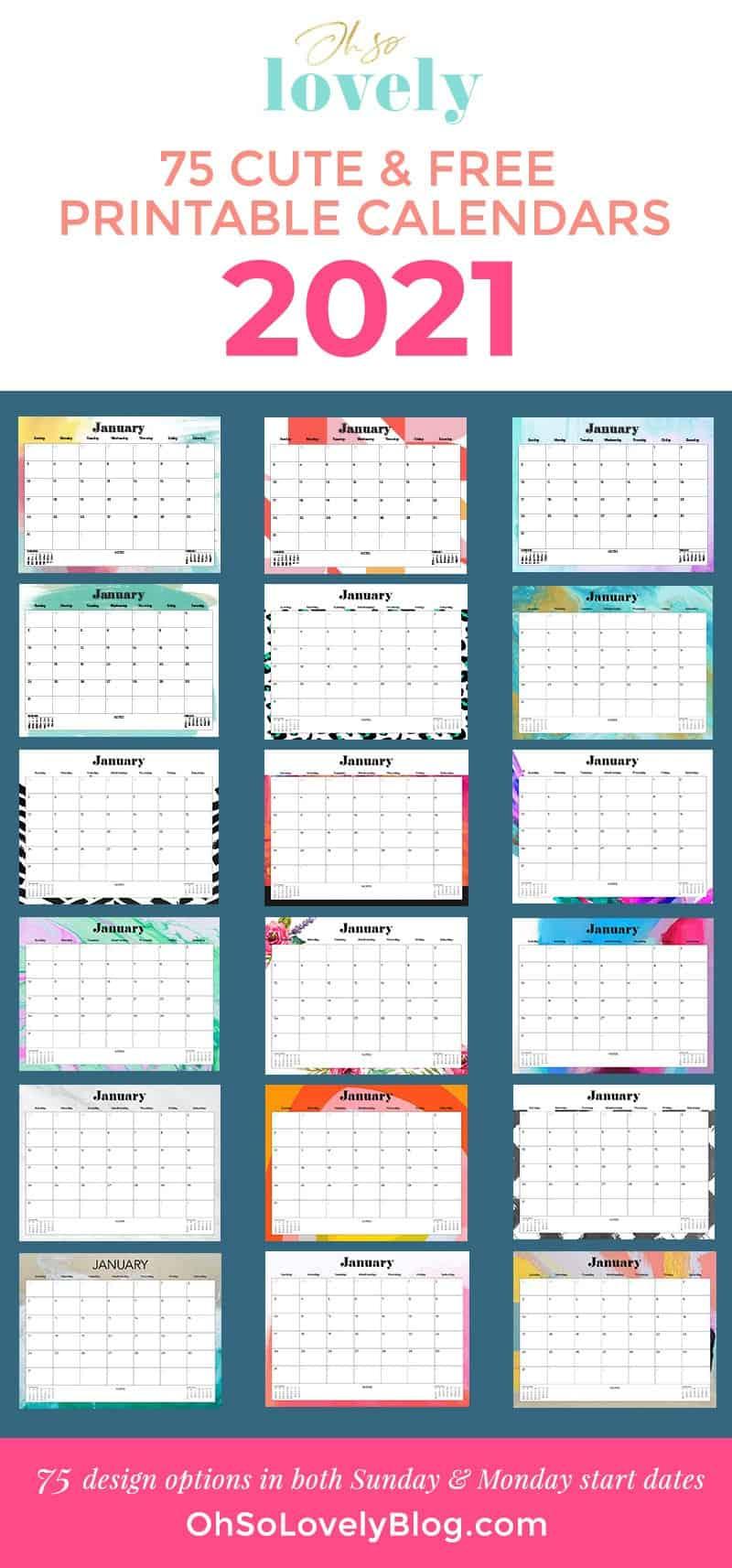 Cute 2021 Printable Blank Calendars : Custom Editable 2021