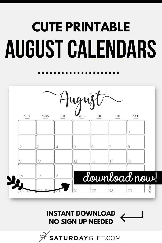 Cute (& Free!) Printable August 2021 Calendar
