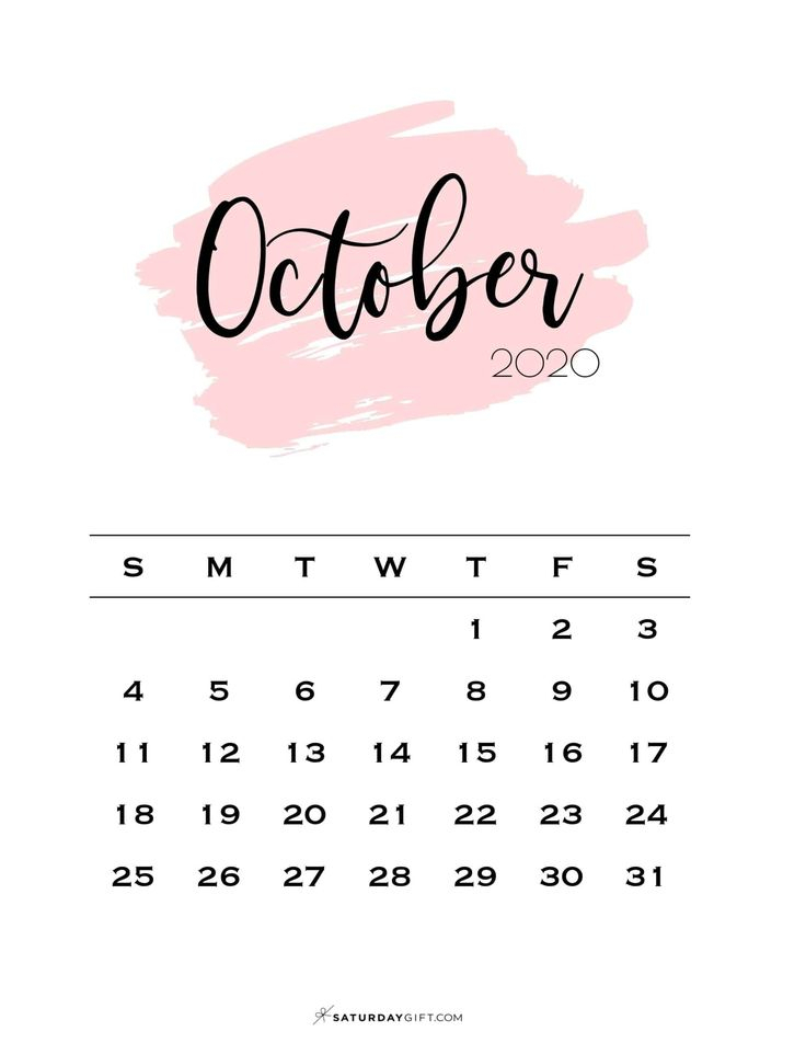 Cute (& Free!) Printable October 2021 Calendar