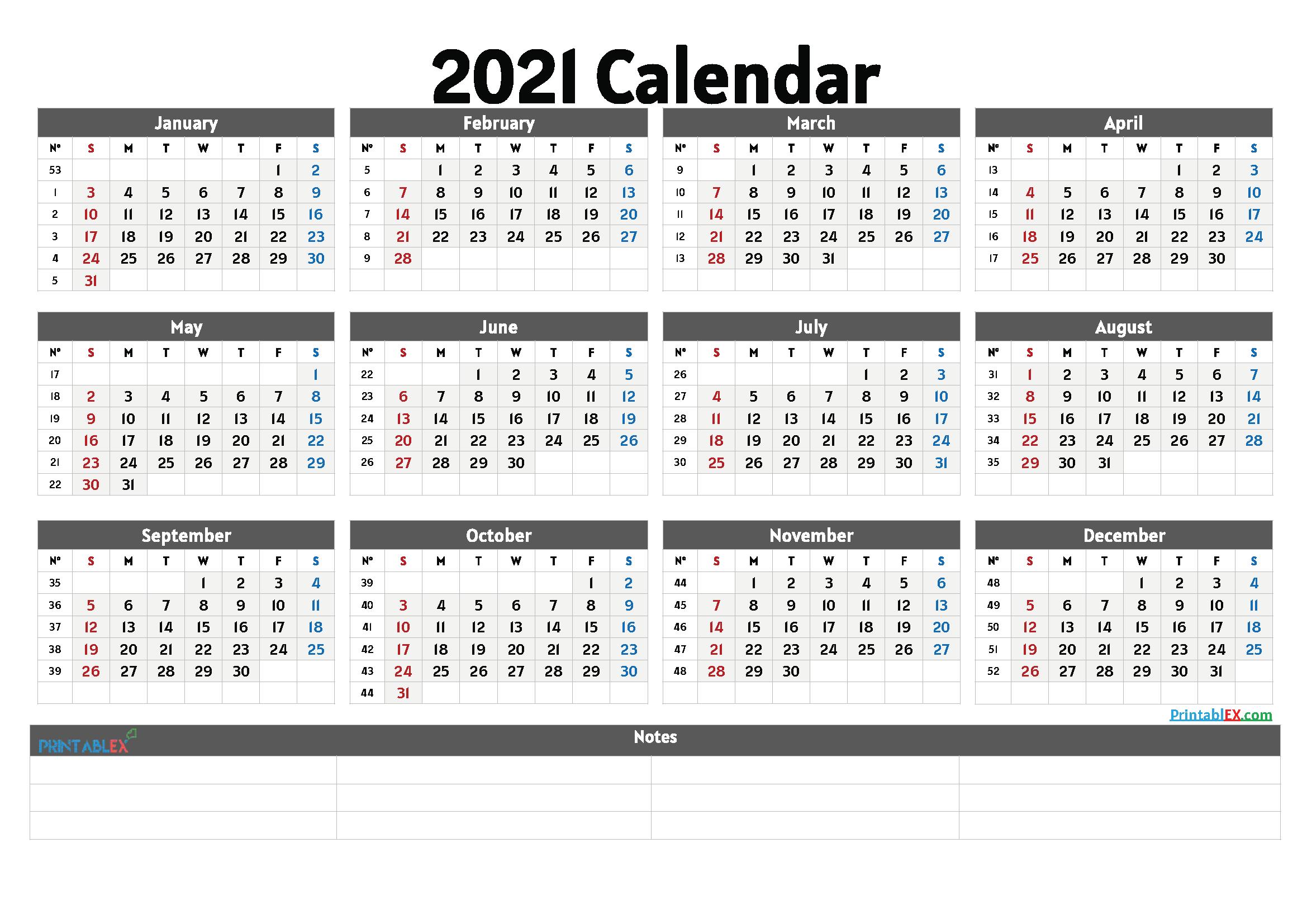 Cute Printable Calendar 2021 - 21Ytw27 - Free Printable