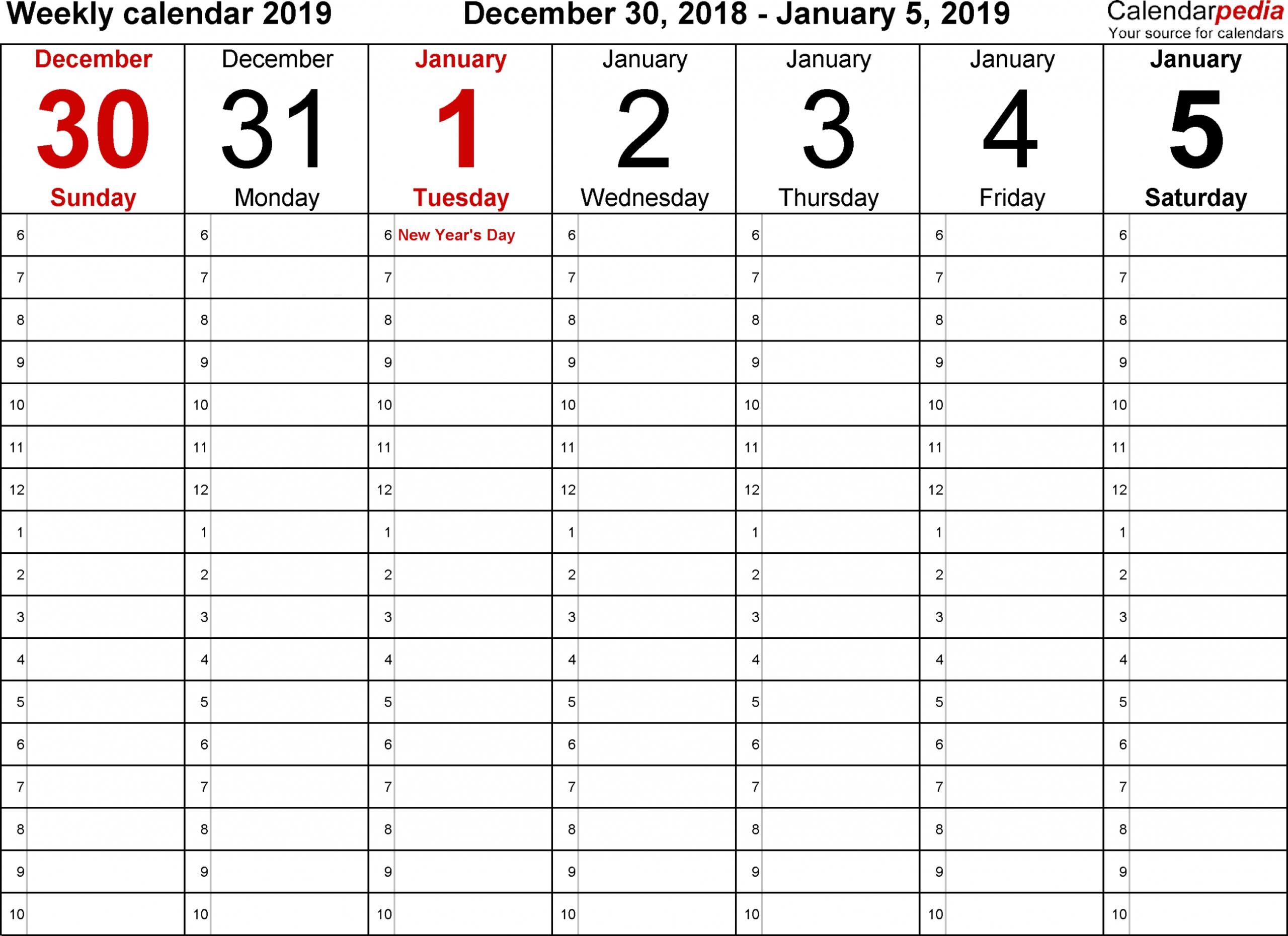 Daily Calendars Free Printable Editable - Calendar