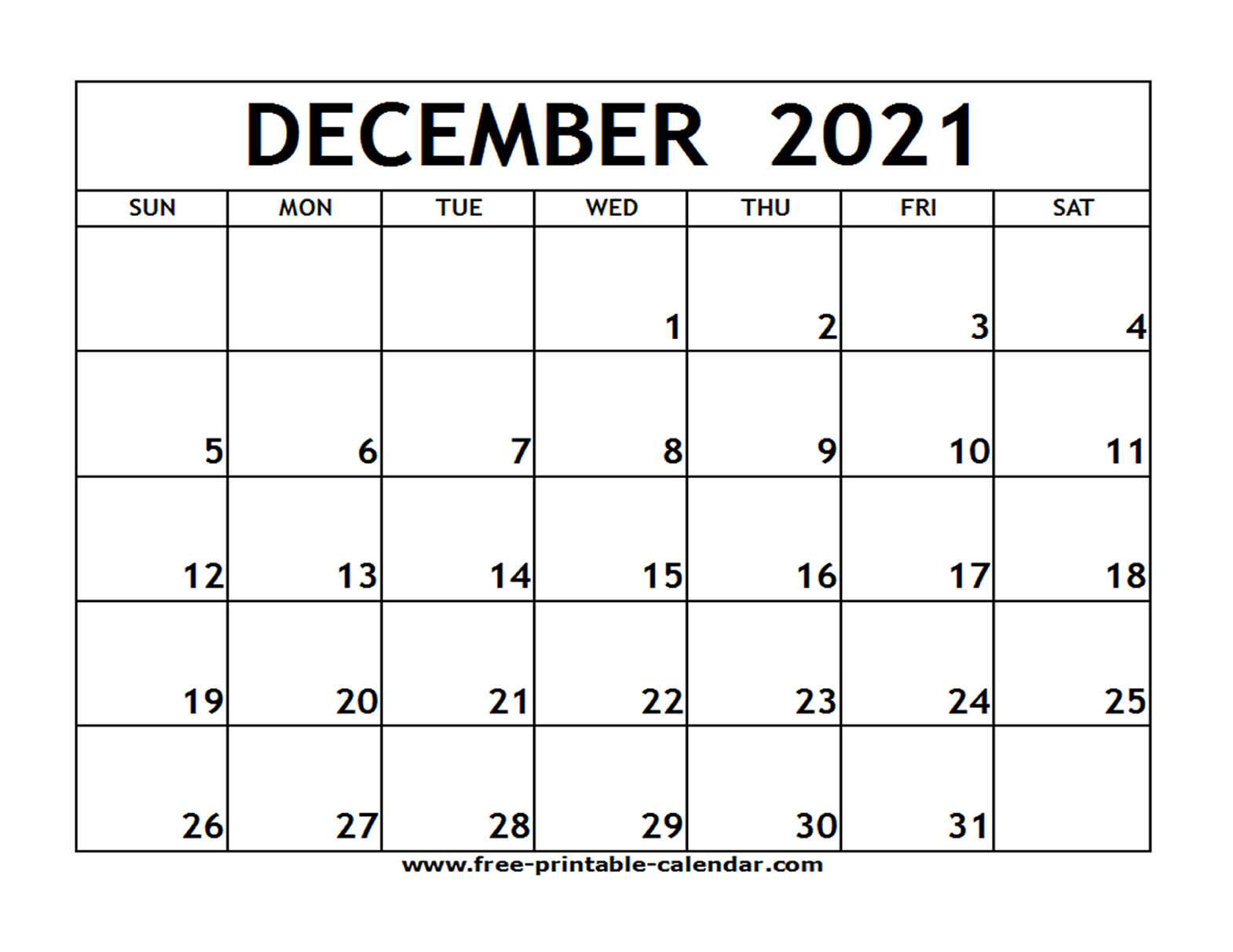 Dec 2021 Printable Calendar | Free Printable Calendar