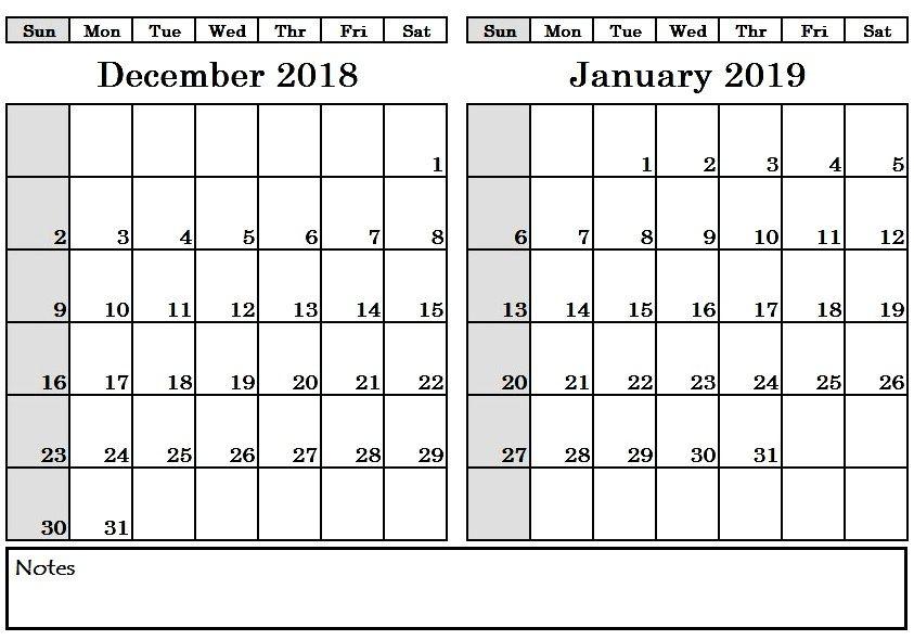 December 2018 January 2019 Calendar Printable #