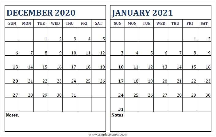 December 2020 January 2021 Blank Calendar - Two Month Calendar