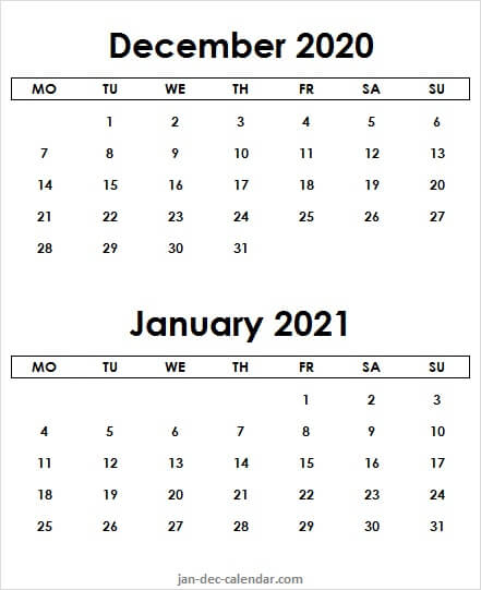 December 2020 January 2021 Calendar Page - Two Month