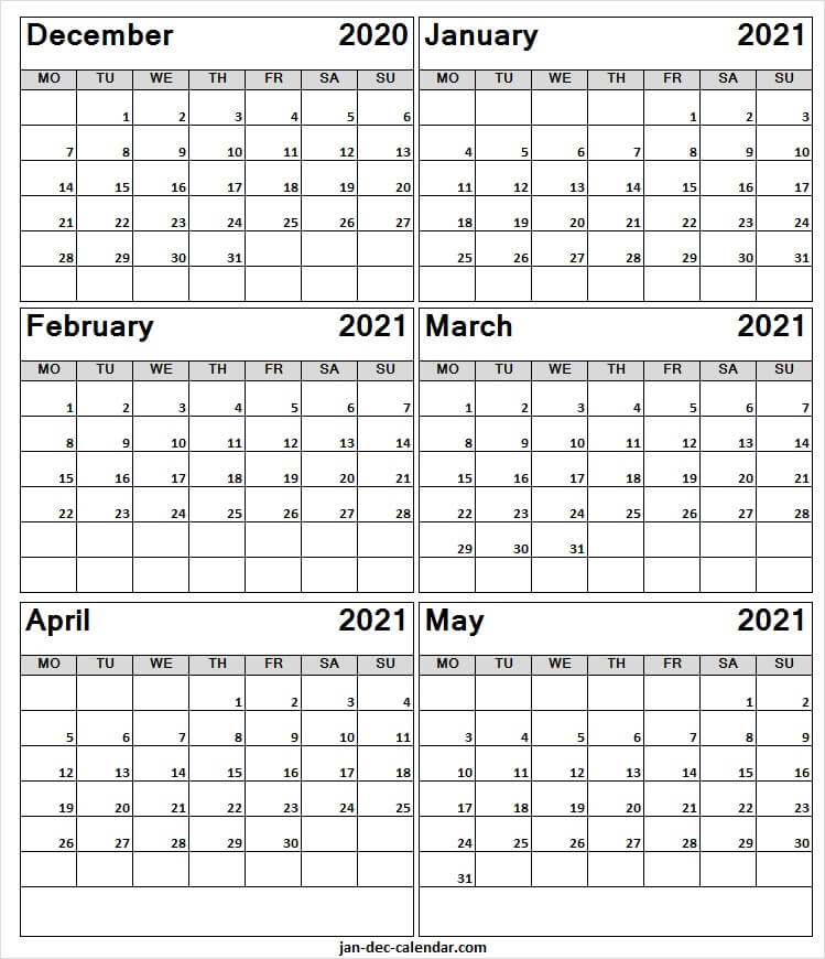 December 2020 To May 2021 Blank Calendar - Month Of Dec 2020