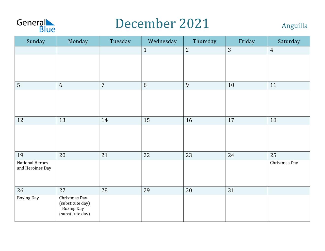 December 2021 Calendar - Anguilla