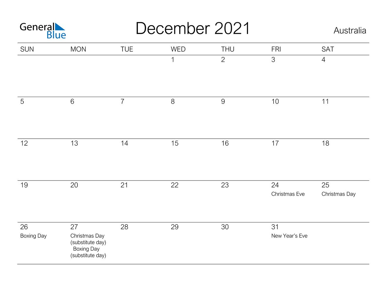 December 2021 Calendar - Australia