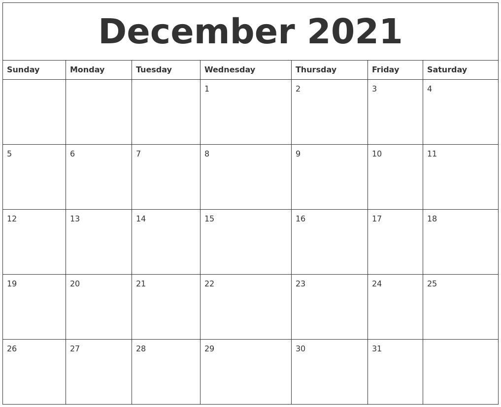 December 2021 Calendar Blank
