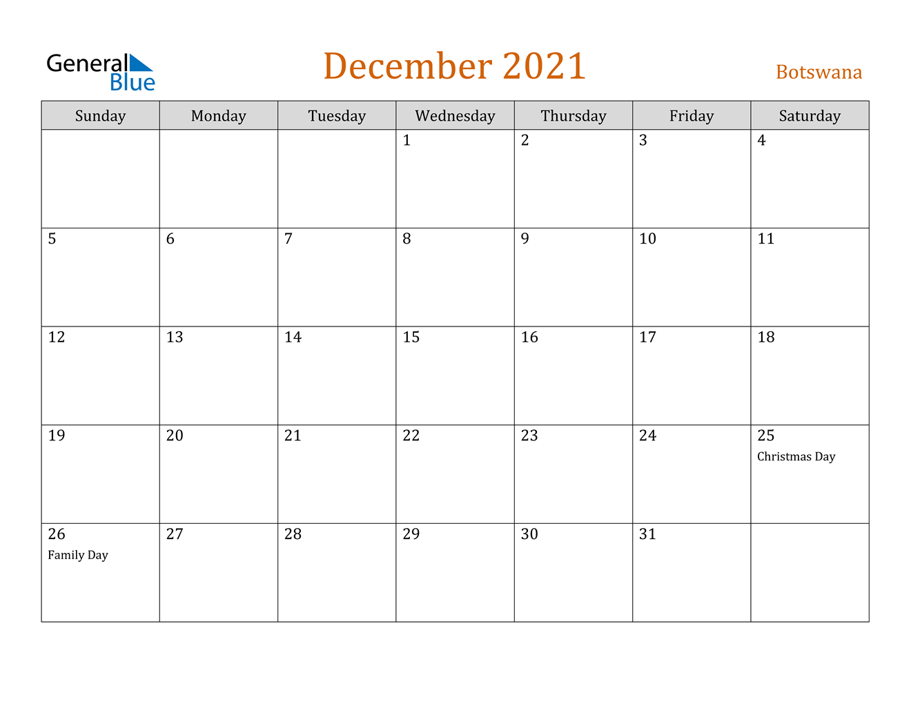December 2021 Calendar - Botswana