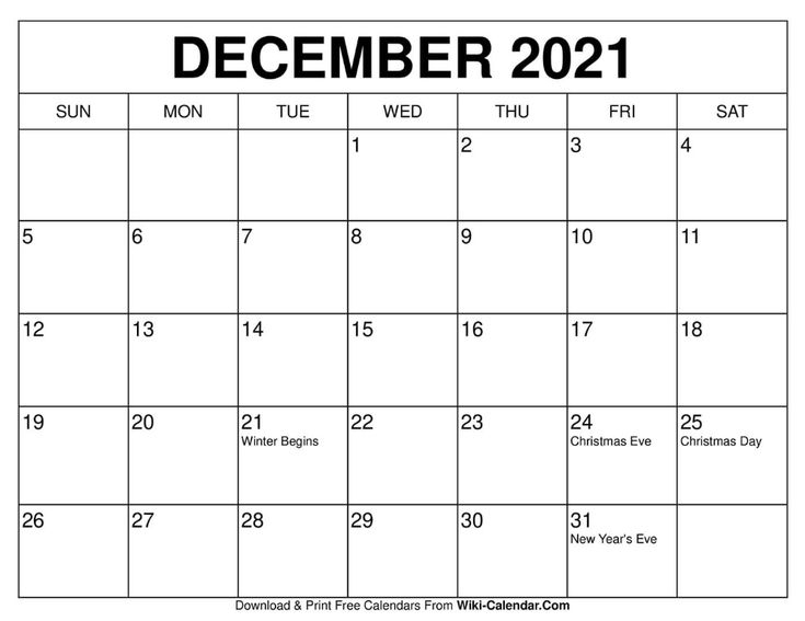 December 2021 Calendar | Free Calendars To Print, Print