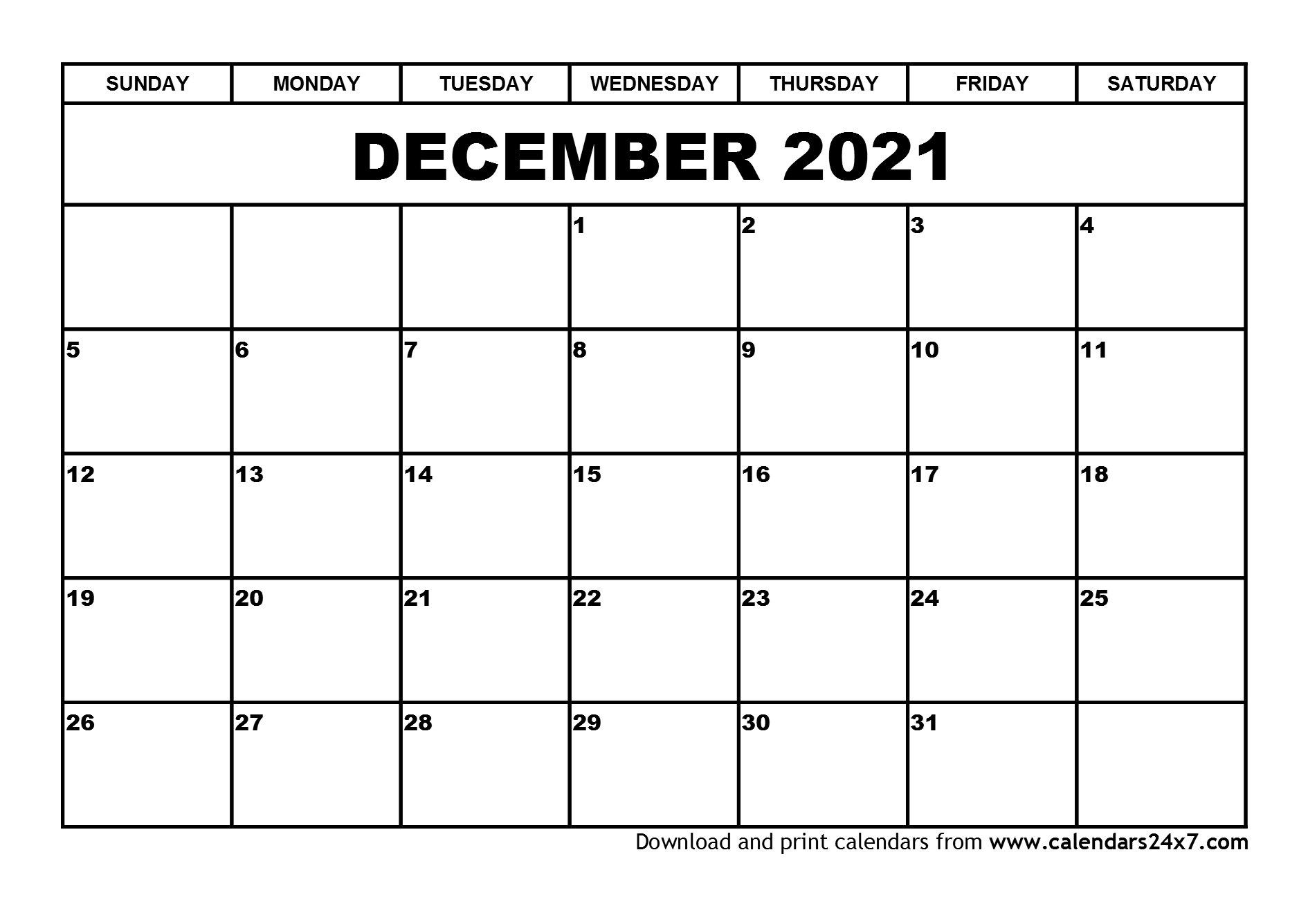 December 2021 Calendar & January 2022 Calendar