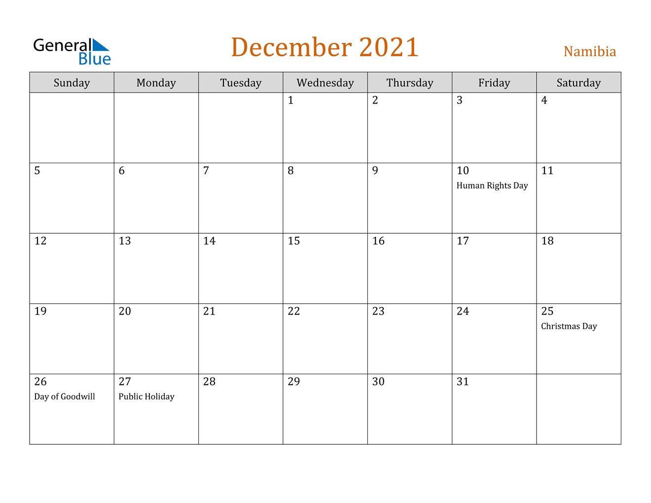 December 2021 Calendar - Namibia