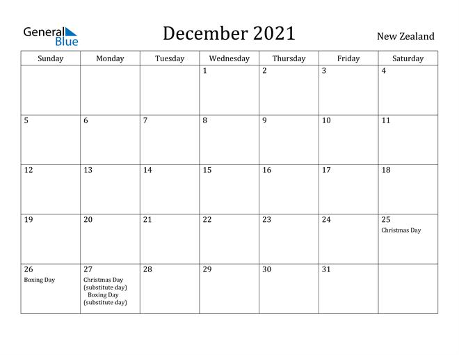 December 2021 Calendar - New Zealand