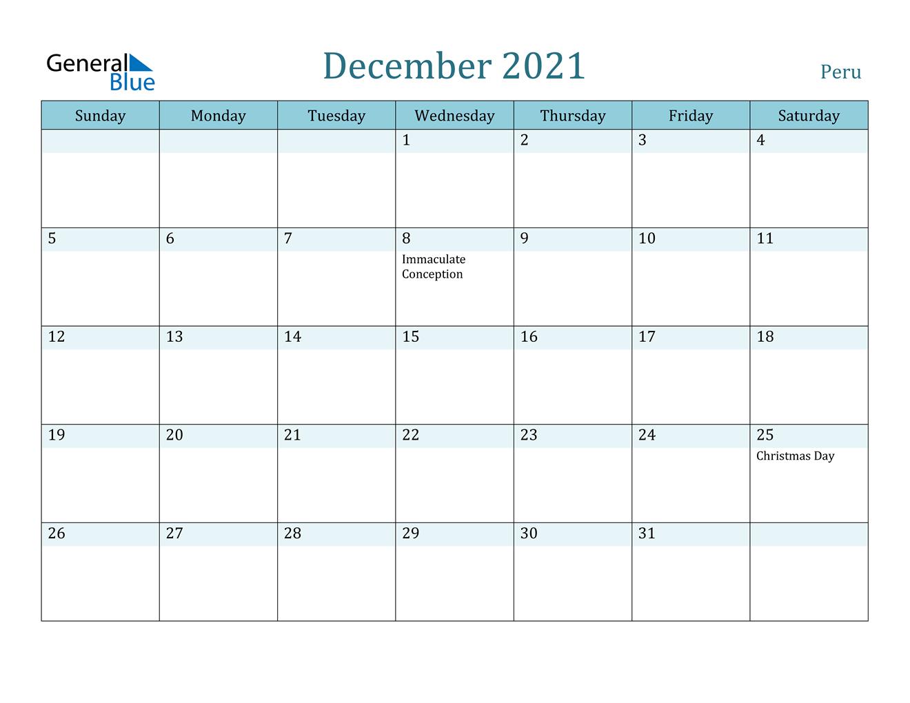 December 2021 Calendar - Peru