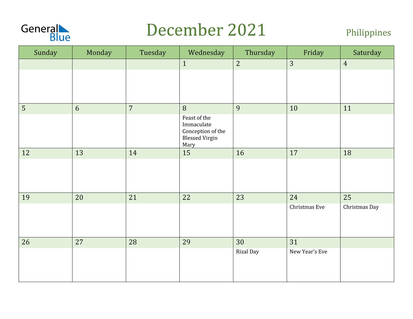 December 2021 Calendar - Philippines