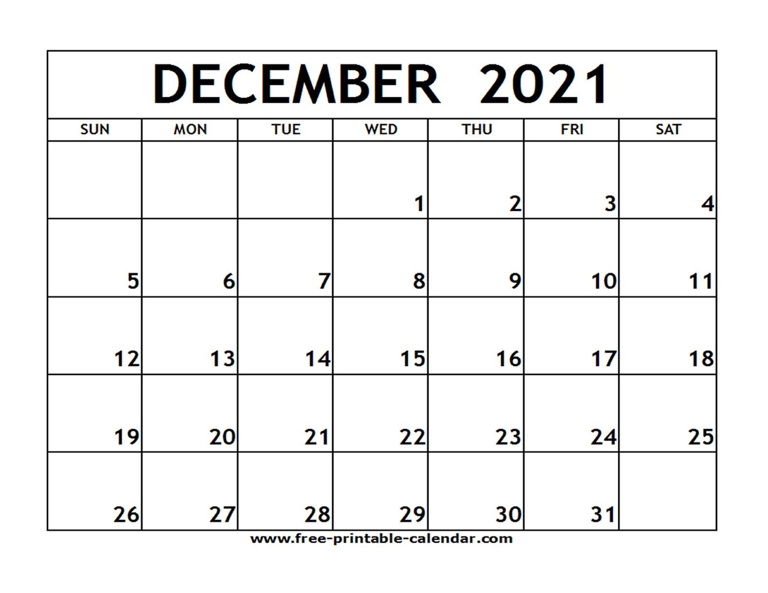 December 2021 Calendar Printable   Example Calendar Printable