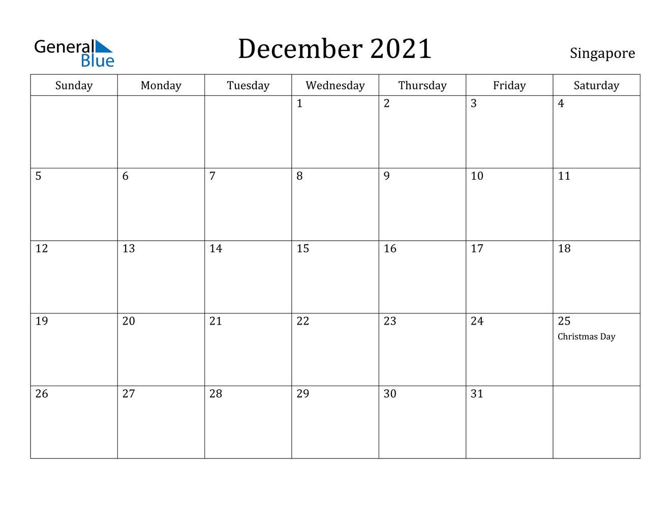 December 2021 Calendar - Singapore