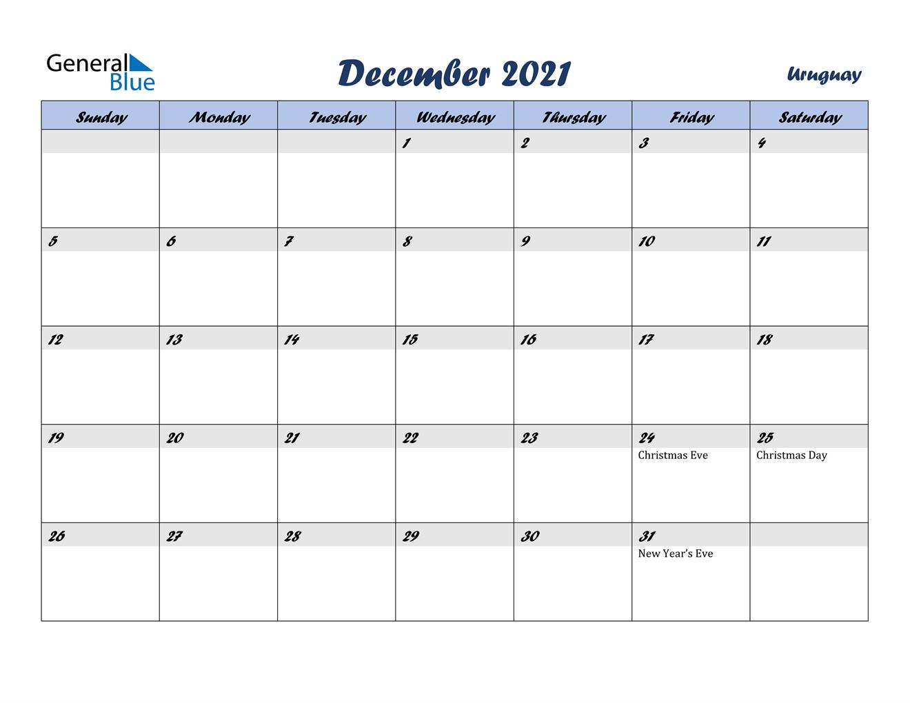December 2021 Calendar - Uruguay
