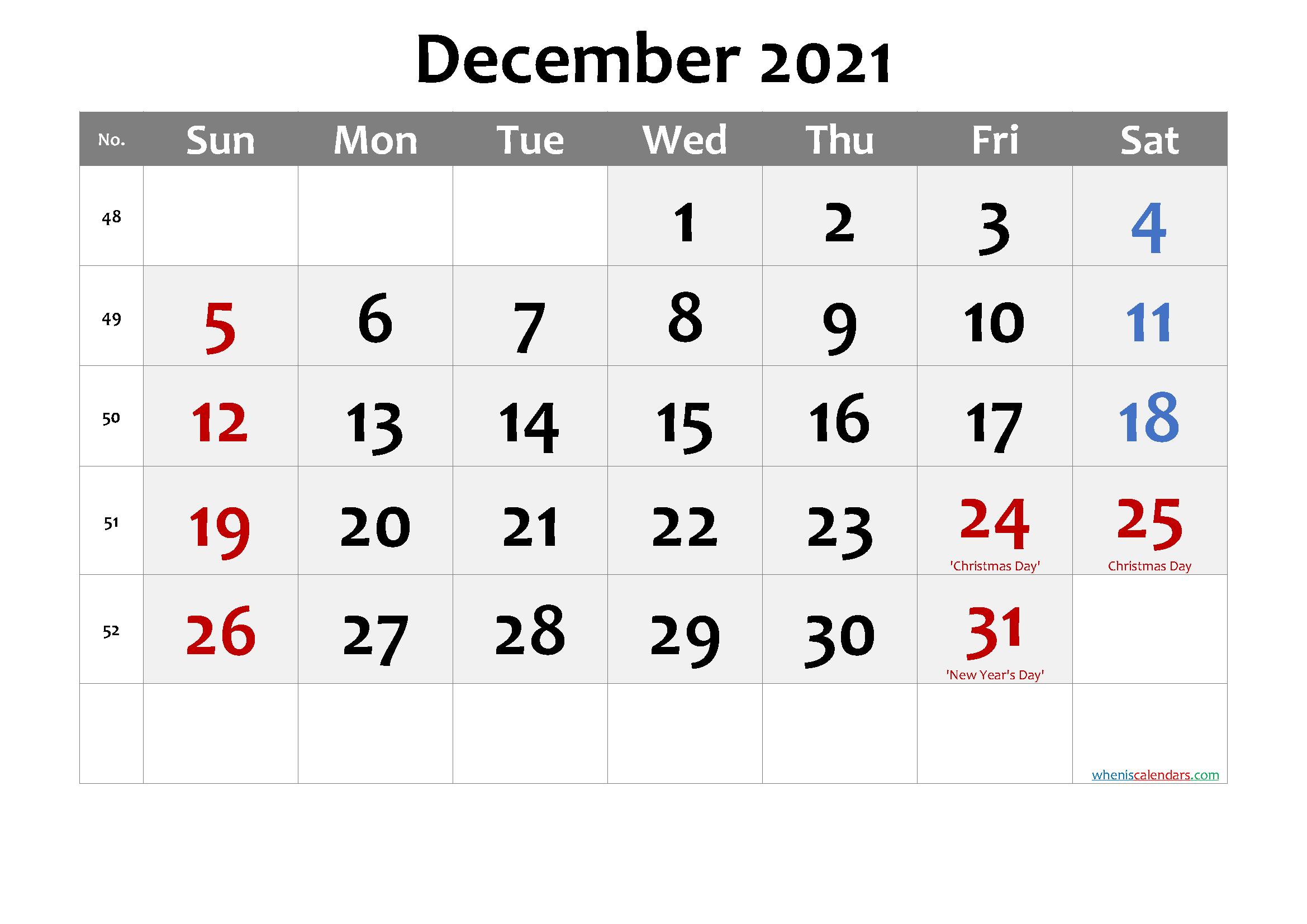 December 2021 Calendar With Holidays | Printable Calendars