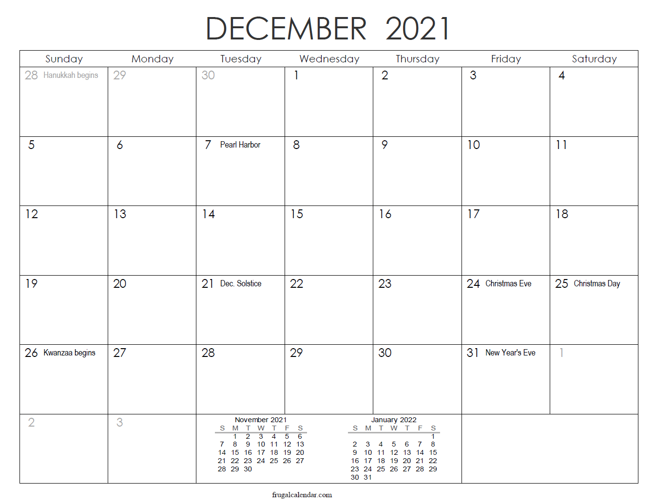 December | 2021 Calendars Printable