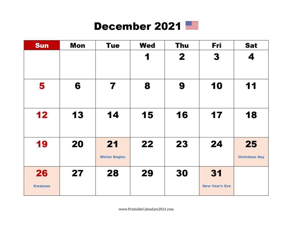 December 2021 Modern Typography Calendar | 2021 Calendar