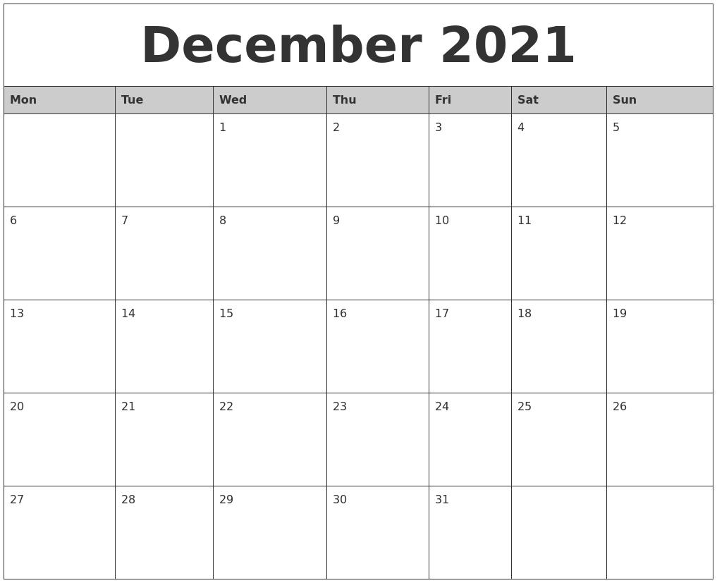 December 2021 Monthly Calendar Printable