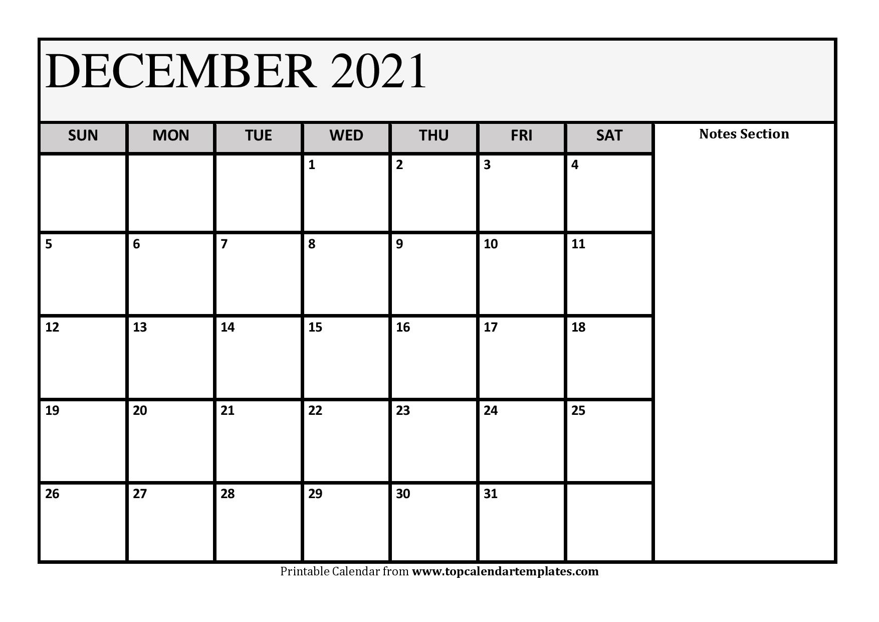 December 2021 Printable Calendar - Monthly Templates