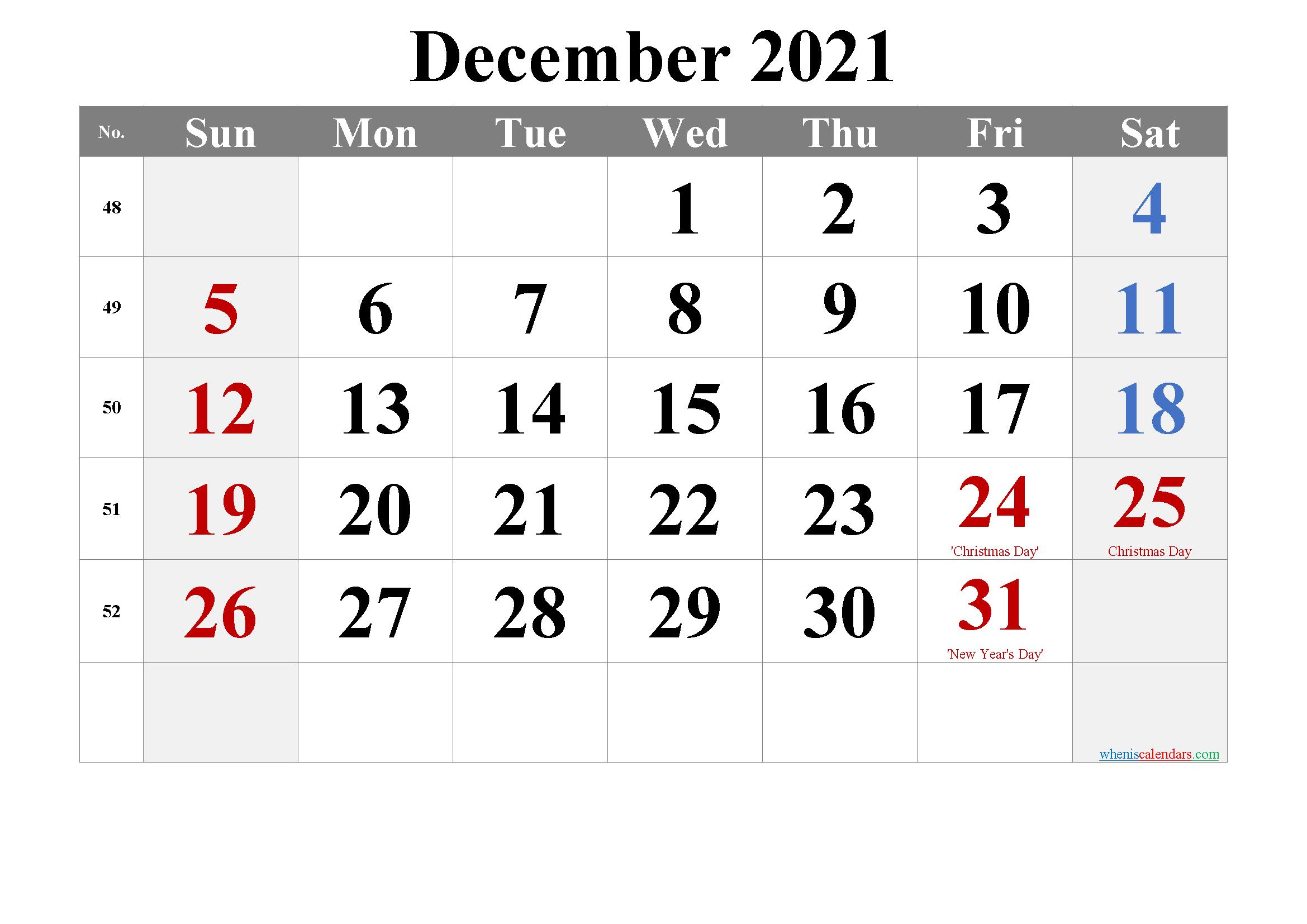 December 2021 Printable Calendar With Holidays - 6