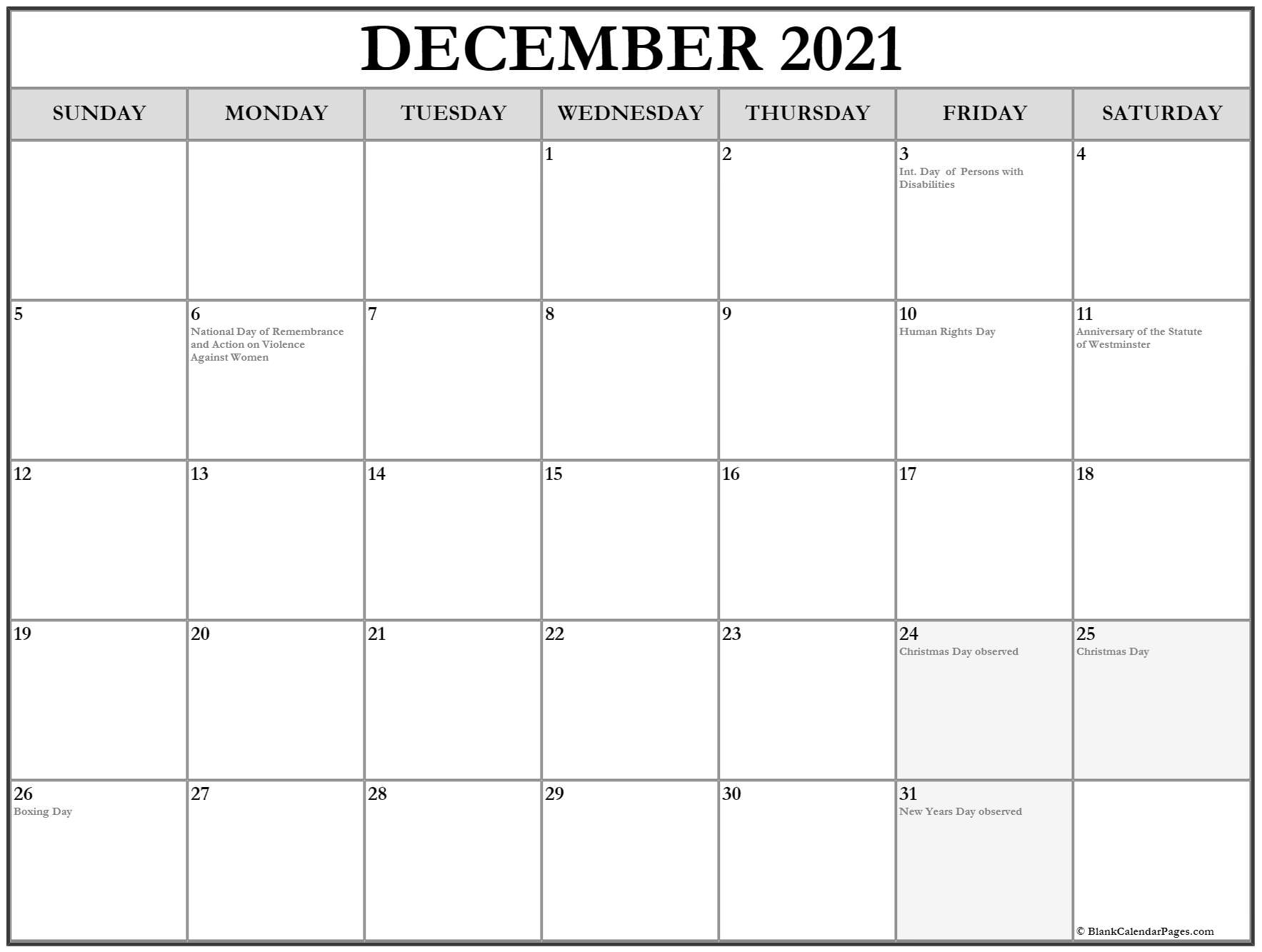 December 2021 With Holidays Calendar