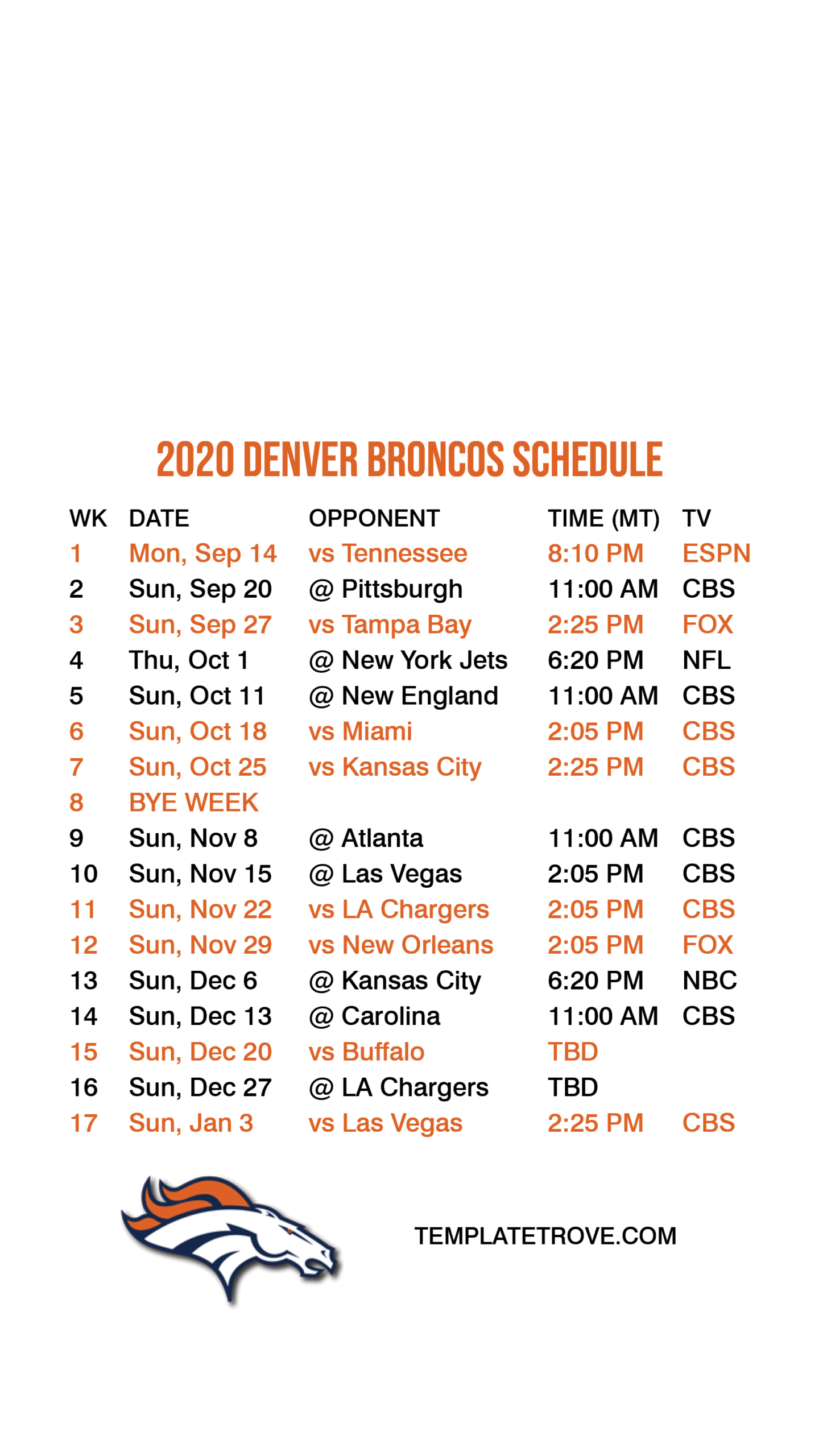 Denver Broncos 2021 Printable Schedule - Printableschedule | Printable Schedule