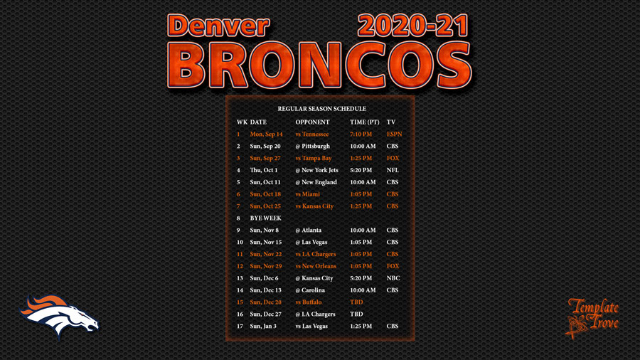Denver Broncos 2021 Printable Schedule - Printableschedule