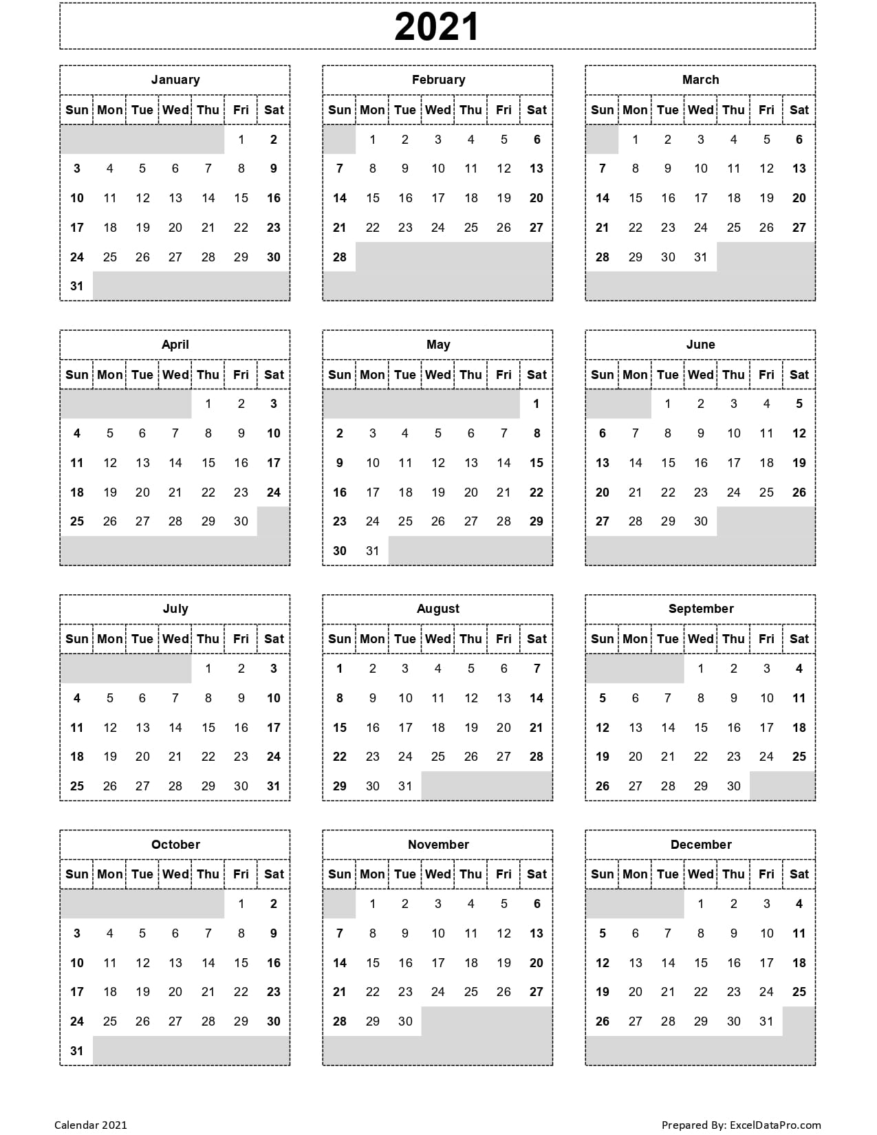 Download 2021 Yearly Calendar (Sun Start) Excel Template - Exceldatapro
