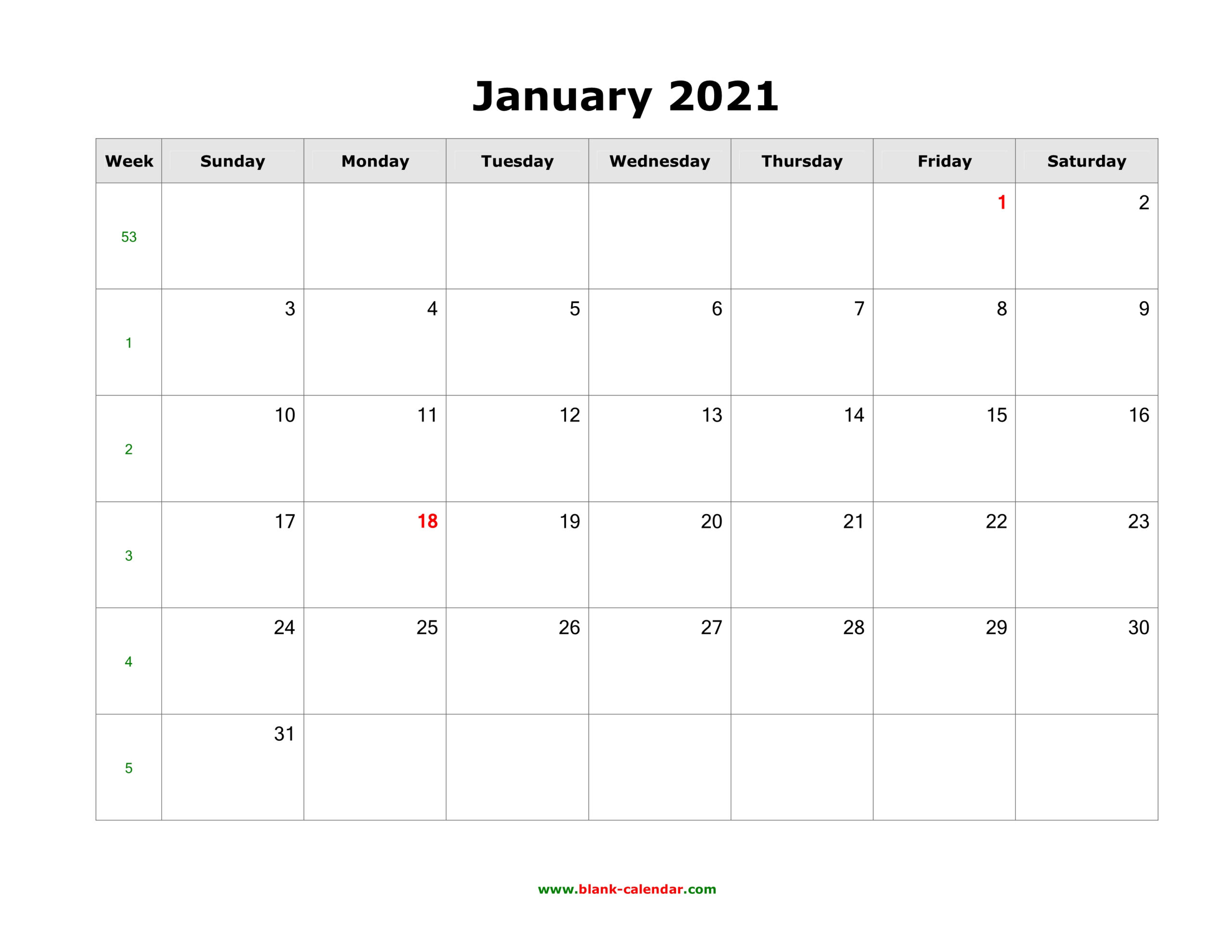 Download Blank Calendar 2021 (12 Pages, One Month Per Page, Horizontal)