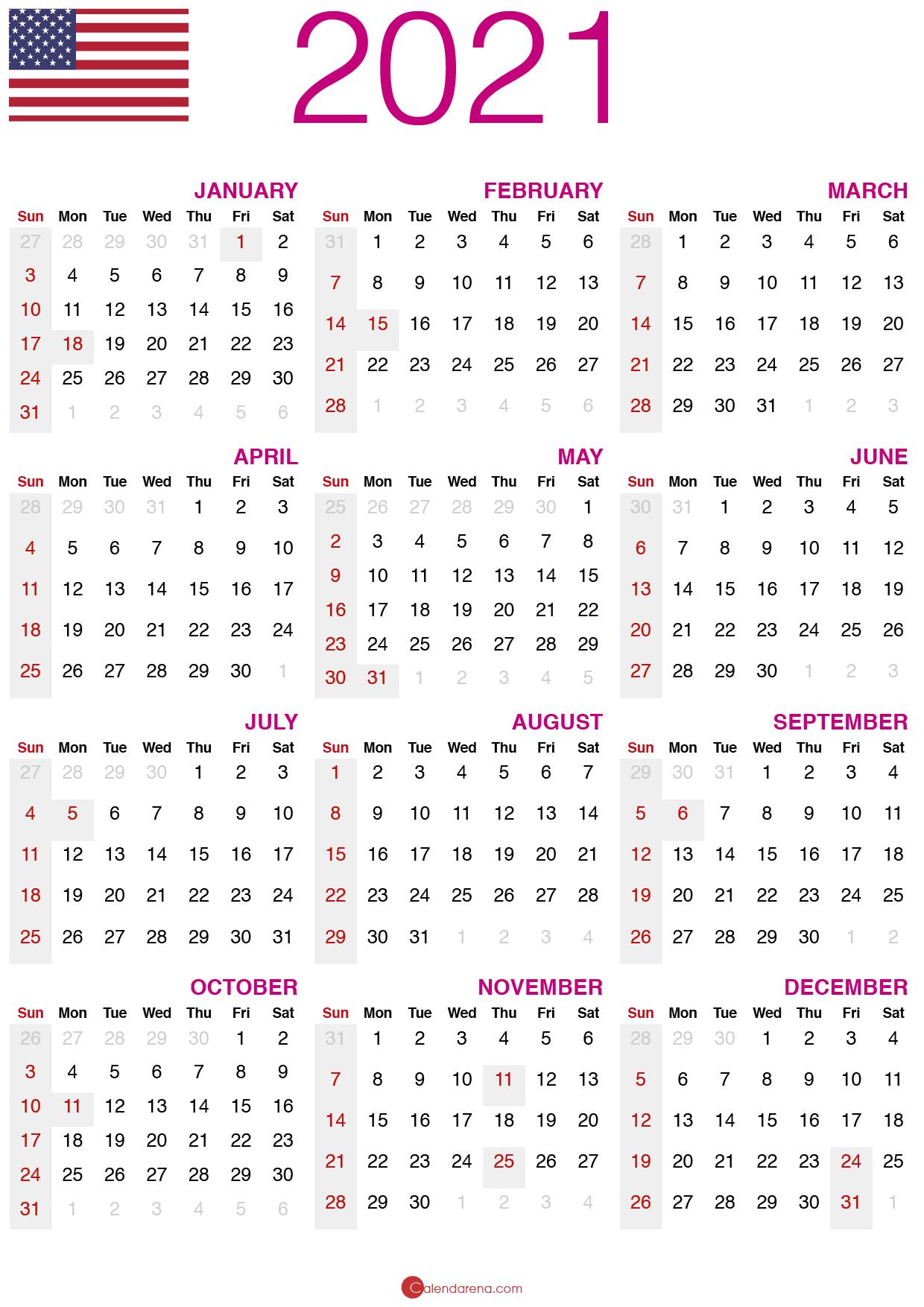 Download Free Printable Calendar 2021 🇺🇸