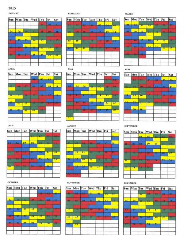 Draft 2015 Shift Calendar | United Fire Fighters Of Winnipeg