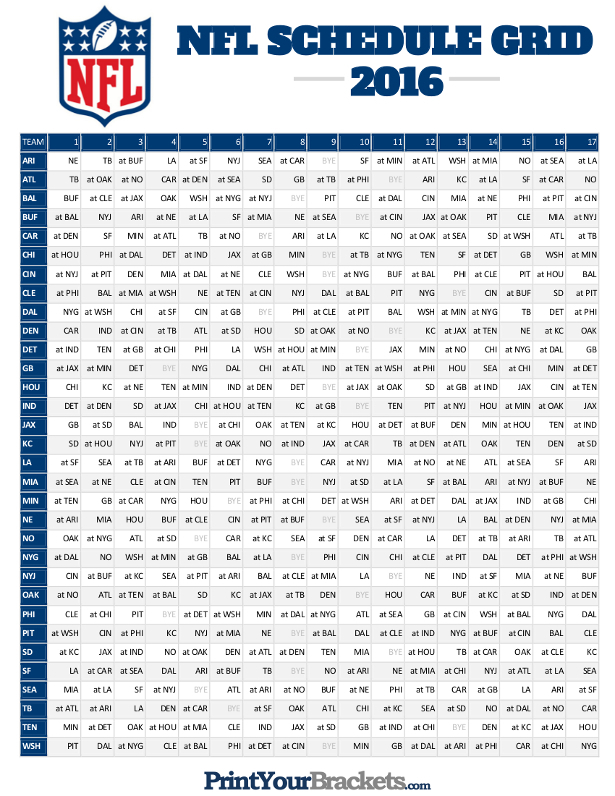 Dynamite Printable Nfl Schedule Grid | Hudson Website