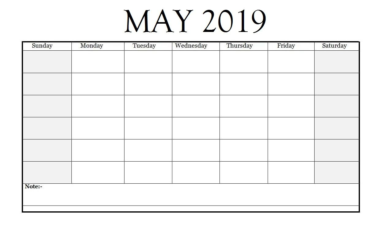 Editable May 2019 Calendar | Monthly Calendar Template