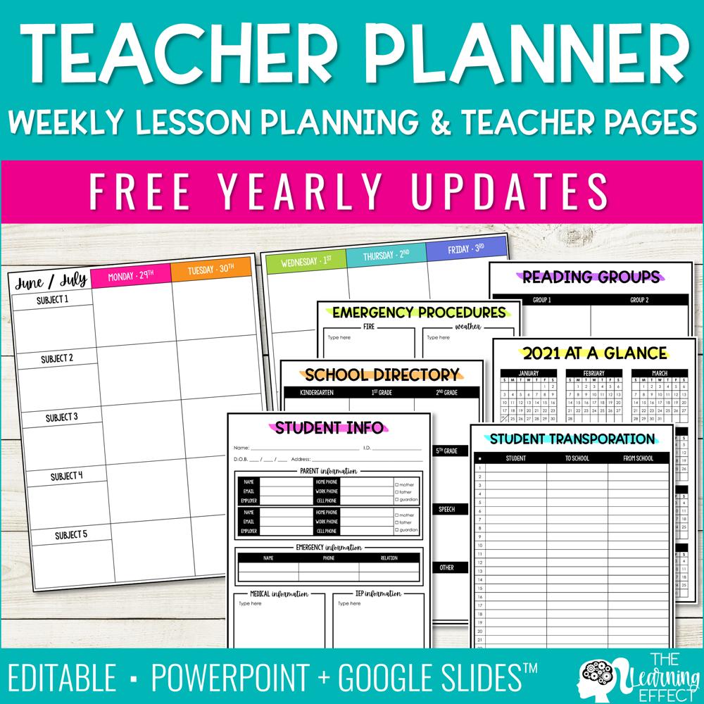 Editable Weekly Lesson Plan Templates | Teacher Planner