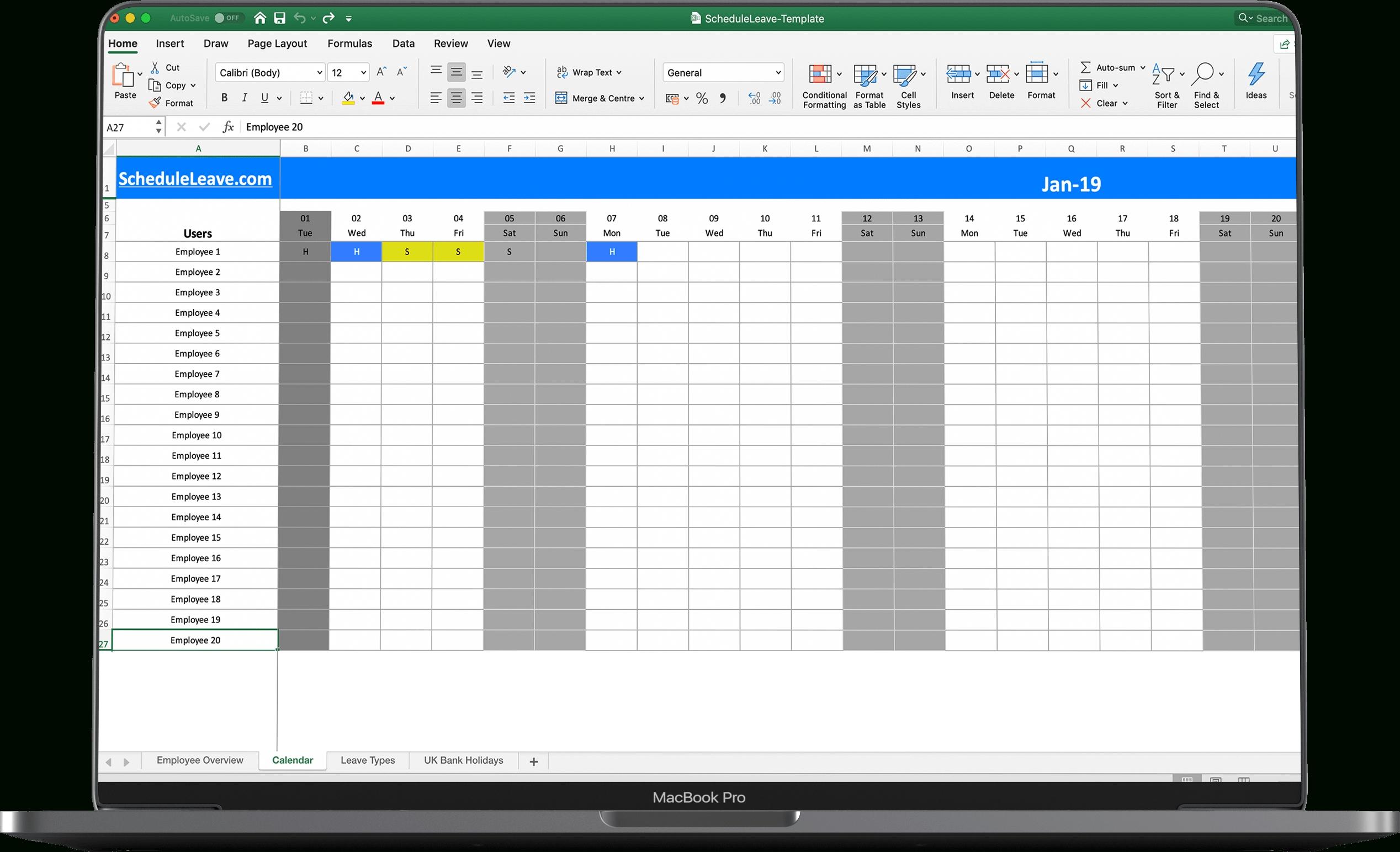 Employee Vacation Tracker Templates 2021 | Calendar