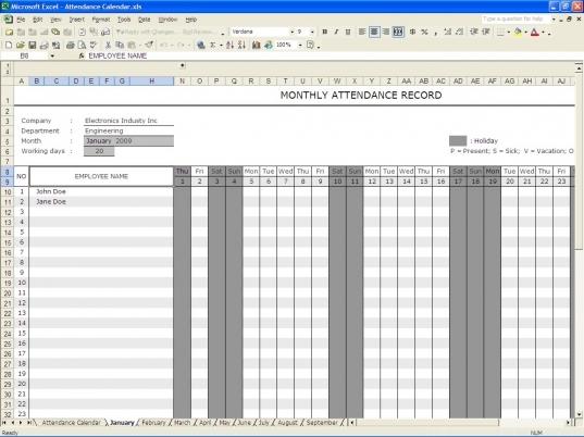 Excel Employee Attendance Calendar Template | Printable