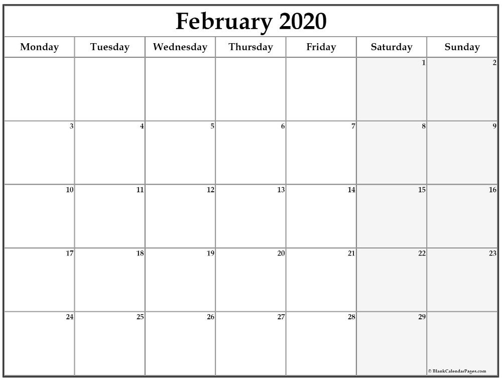 February 2020 Monday Calendar | Monday To Sunday In 2020