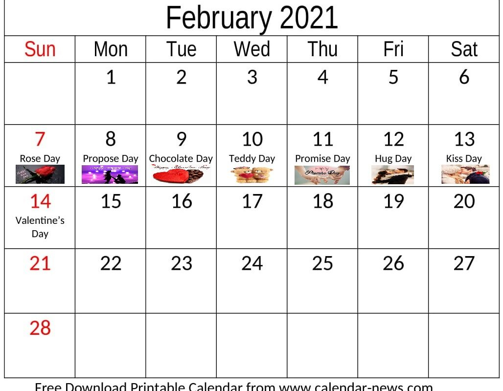 February 2021 Calendar Print And Download Monthly Template