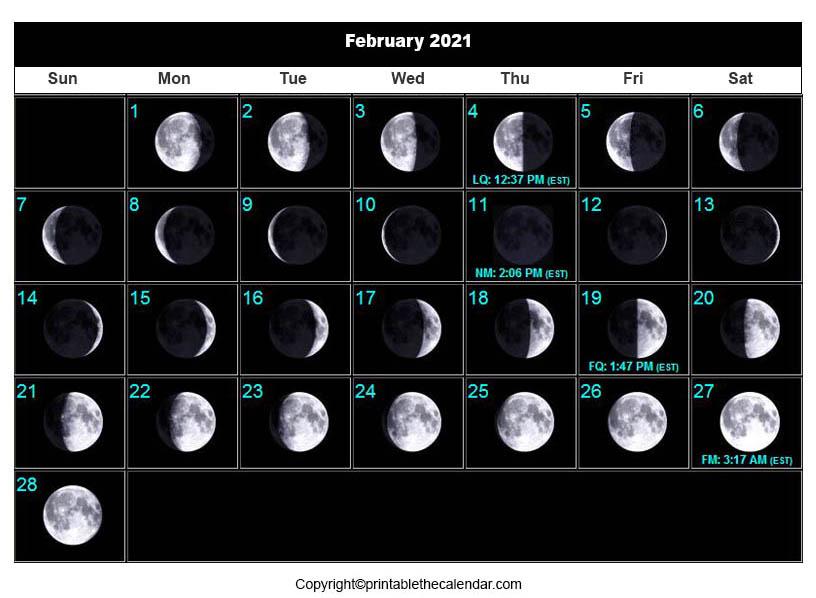 February 2021 Moon Phase Calendar   Printable The Calendar