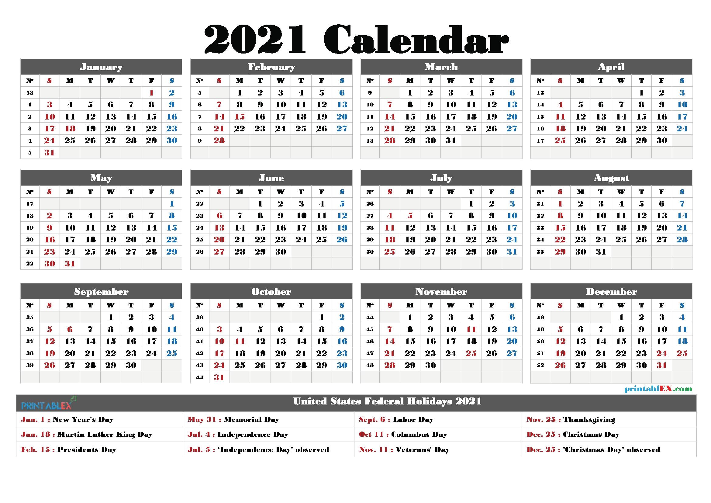 Federal Holidays 2021 Calendar - Example Calendar Printable