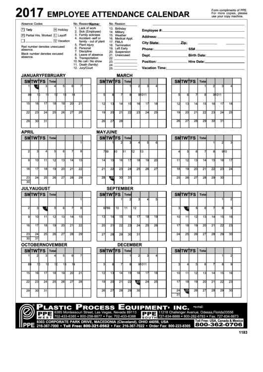 Fillable 2017 Employee Attendance Calendar Printable Pdf