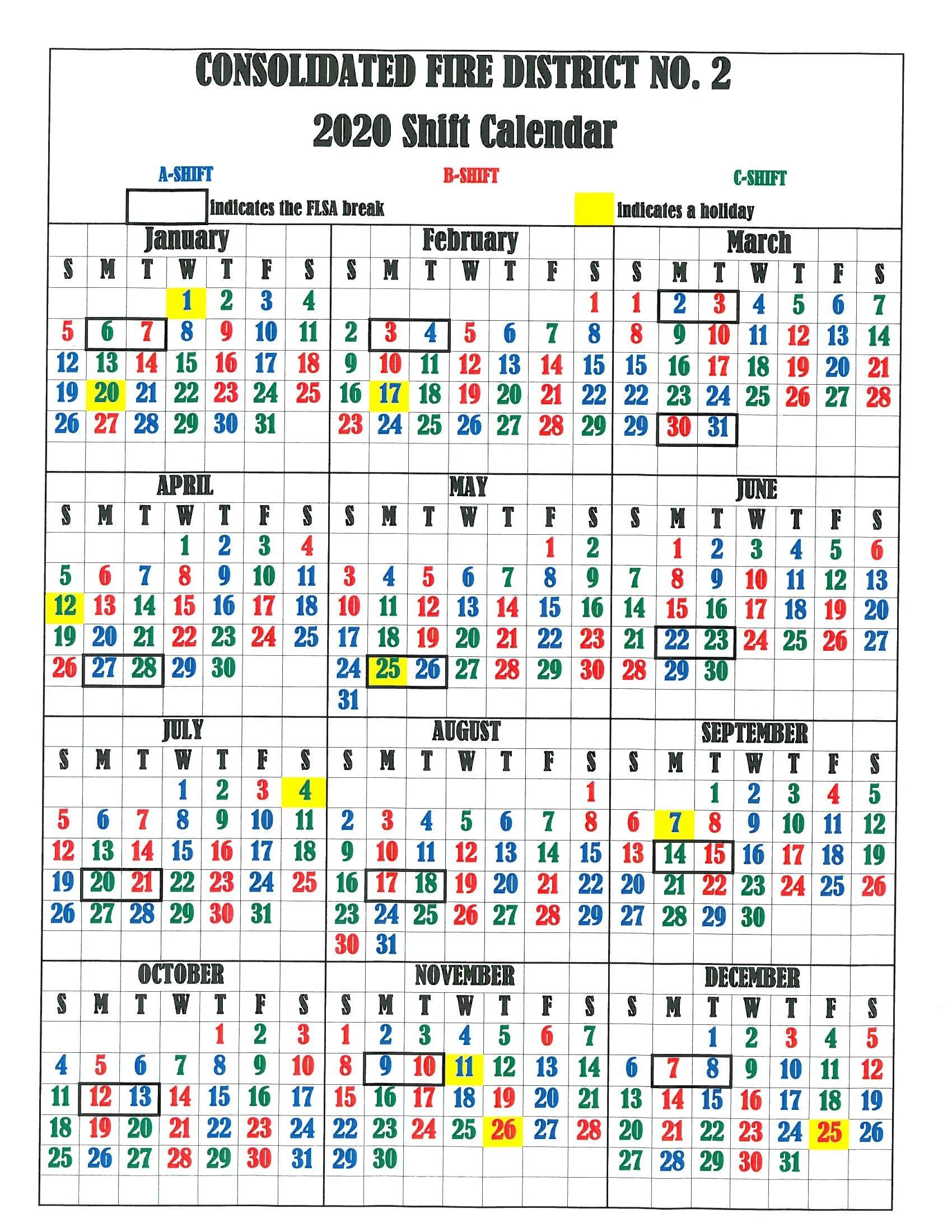Fire Department Schedule Calendar 2020 - Template Calendar
